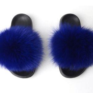 Royal Blue Fur Sliders